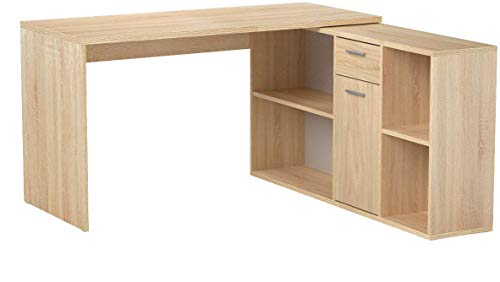 RICOO Schreibtisch WM081-ES Holz Sonoma Eiche | Winkelkombination Arbeitstisch Computer Tische Office Table Bürotisch Computertisch Gaming Eckschreibtisch Organizer Akten Schrank Lowboard