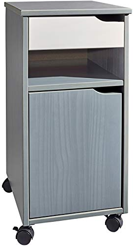 Home Creation Rollcontainer Massivholz Büroschrank 32x66x38 (Grau)