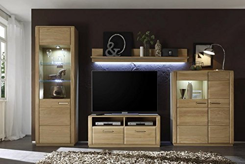 Dreams4Home Wohnkombination 'Yascha I' 4-teilig, Eiche Bianco massiv, optional mit Beleuchtung, Schrank, TV-Schrank, TV Element, Wohnwand, Wohnelement, Wohnzimmer, Regalwand, Highboard, Vitrine, Beleuchtung:ohne Beleuchtung