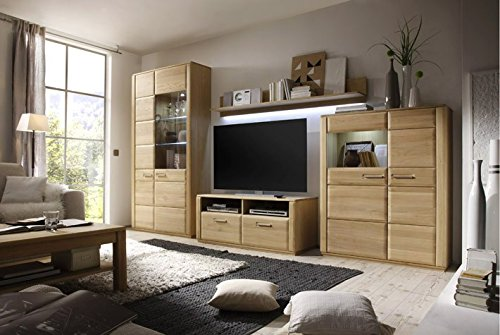 Dreams4Home Wohnkombination 'Yascha IV' 4-teilig, Eiche Bianco massiv, optional mit Beleuchtung, Schrank, TV-Schrank, TV Element, Wohnwand, Wohnelement, Wohnzimmer, Regalwand, Highboard, Vitrine, Beleuchtung:ohne Beleuchtung