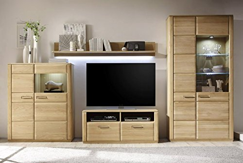Dreams4Home Wohnkombination 'Yascha V' 4 teilig, Eiche Bianco, optional,,, Element,, Wohnelement,, Regalwand, Highboard, Vitrine,:ohne