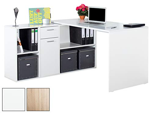 RICOO Winkelkombination Schreibtisch Weiss Arbeitstisch Computer Tische WM081 W Office Table Bürotisch Computertisch Gaming Eckschreibtisch Regal Schubladen Organizer Akten Schrank Holz Lowboard